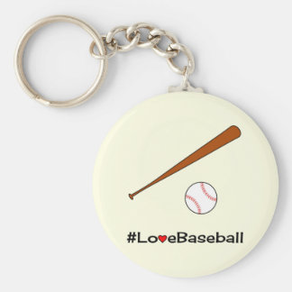 Love baseball hashtag sports basic round button keychain
