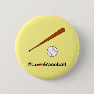 Love baseball yellow hashtag sports 2 inch round button