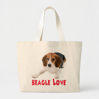Love Beagle Puppy Dog Canine Canvas Totebag Large Tote Bag