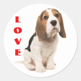 Love Beagle Puppy Dog Classic Round Sticker