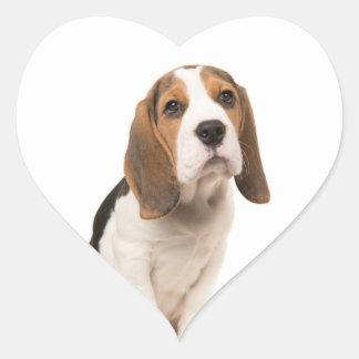 Love Beagle Puppy Dog Heart Sticker