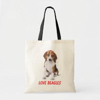 Love Beagles Puppy Dog Canvas Totebag Tote Bag