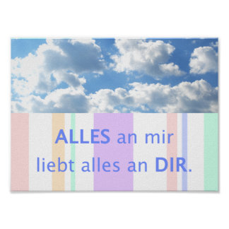 Love, beautiful sayings German saying sky Poster