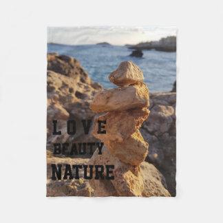 love beauty nature stone file sea fleece blanket