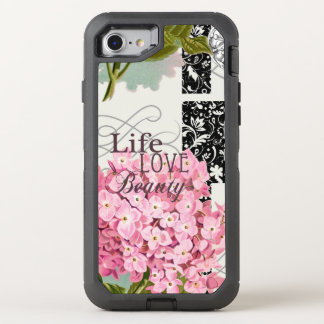 love beauty pattern damask flower pink OtterBox defender iPhone 7 case