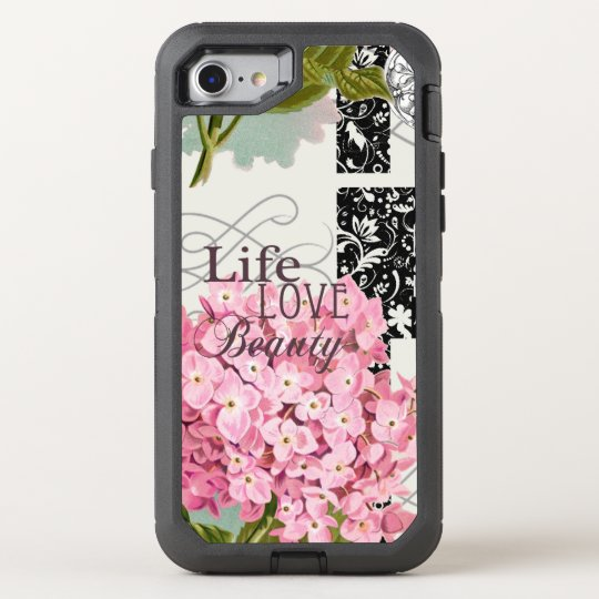love beauty pattern damask flower pink OtterBox defender iPhone 8/7 case