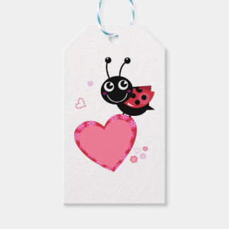 LOVE BEE with pink Heart Pack Of Gift Tags