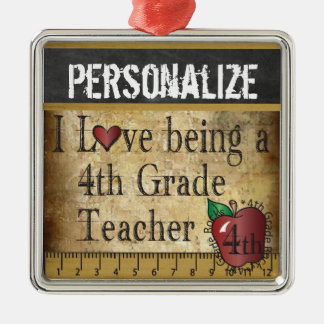 Love being a 4th Grade Teacher | Vintage Metal Ornament