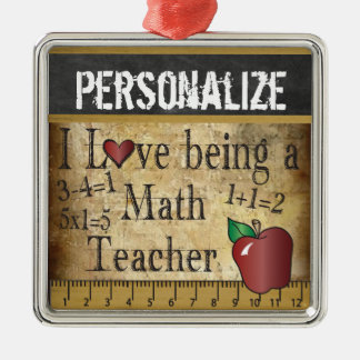 Love being a Math Teacher | Vintage Metal Ornament