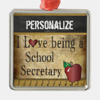 Love being a School Secretary | Vintage Silver-Colored Square Ornament