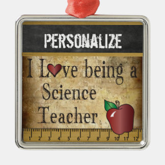 Love being a Science Teacher | Vintage Silver-Colored Square Ornament