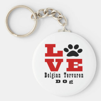 Love Belgian Tervuren Dog Designes Basic Round Button Keychain