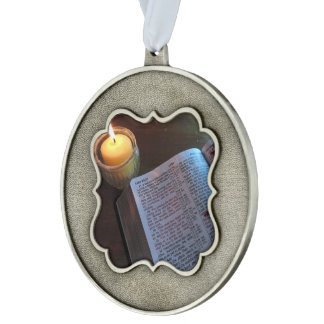 Love Bible and Candle Scalloped Ornament