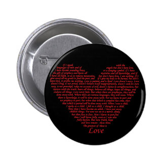 Love bible verse heart design of 1 Corinthians 13 2 Inch Round Button