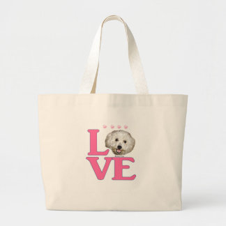LOVE Bichon Frise Large Tote Bag