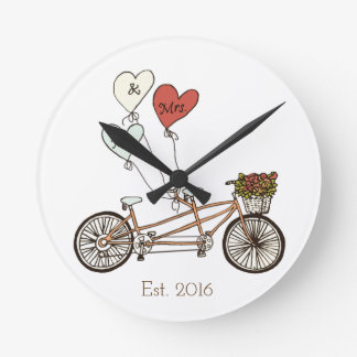 Love bike Mr & Mrs wall clock