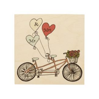 Love bike Mr & Mrs wood wall art Wood Canvas