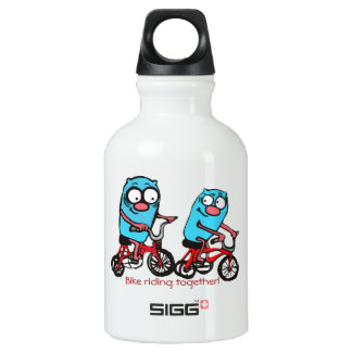 Love bike riding together water bottle
