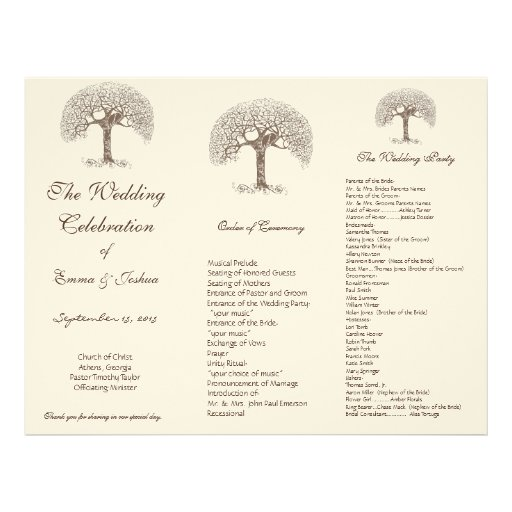 Love Bird Brown Swirl Tree TriFold Wedding Program