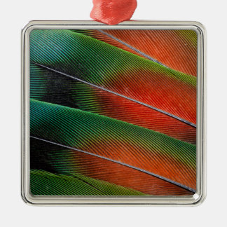 Love bird feather close-up Silver-Colored square ornament