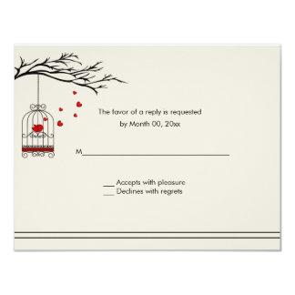 Love Bird in a Birdcage Wedding RSVP Card