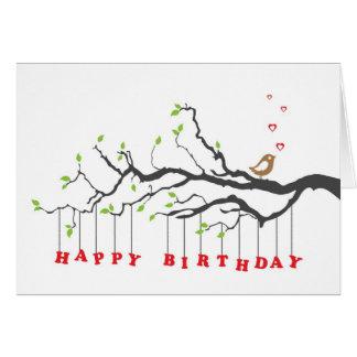 Love bird on tree branches happy birthday card