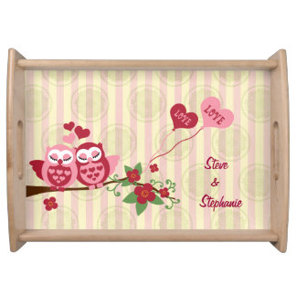 Love Bird Owls Wedding Anniversary Serving Tray
