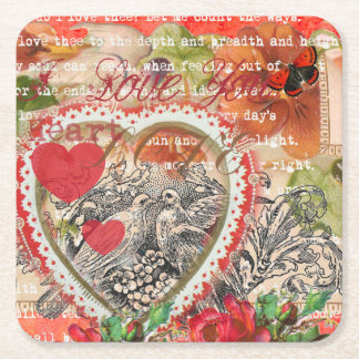 Love Bird Red Heart Square Paper Coaster