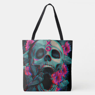 love bird roses and skull all over print tote bag