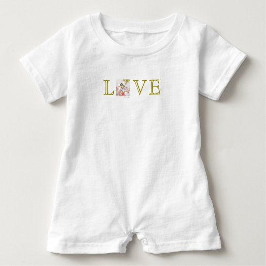 LOVE Bird Watercolor Art Baby Romper