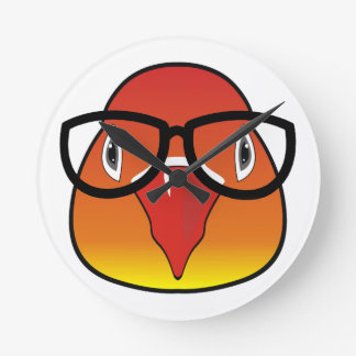 Love bird with glasses round clock