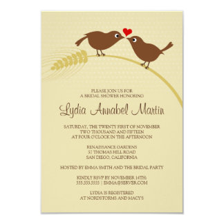"Love Birds 3.5"" x 5"" Bridal Shower Invitation"