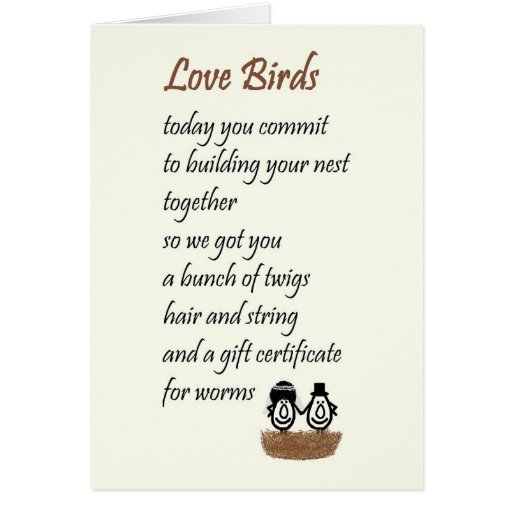 Love Birds - a funny wedding poem Cards