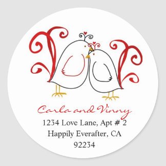 Love Birds and Blossoms Address Labels Round Sticker