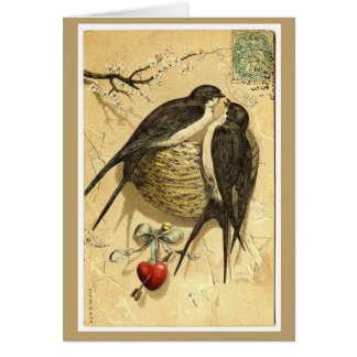 Love Birds and Blossoms Valentine Card