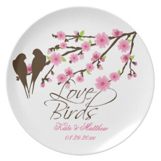 Love Birds and Cherry Blossoms Personalized Plate