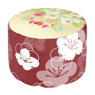 Love Birds and Floral Sturdy Spun Round Pouf