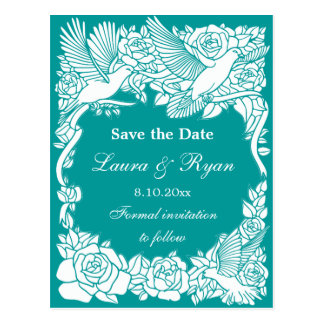 Love Birds and Roses Save the Date Postcard