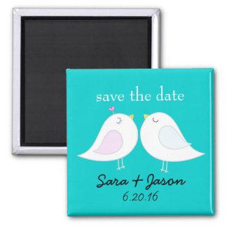 Love Birds Aqua Save the Date Magnet