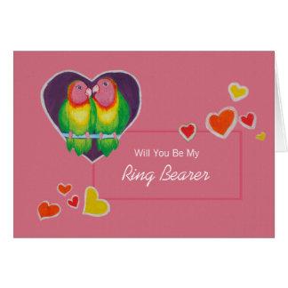 Love Birds Be My Ring Bearer Invitation Greeting Card