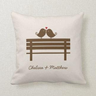 Love Birds Bench {red} Throw Pillow