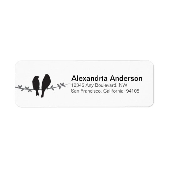 Love Birds Branch Return Address Labels (black)