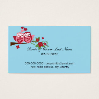 love birds bride and groom new home address business card