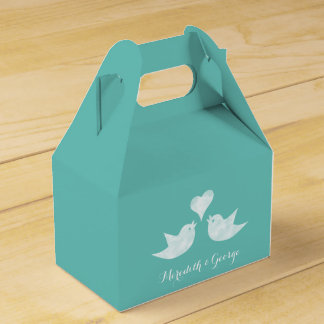 Love Birds Bride and Groom's Name Custom Color Party Favor Boxes