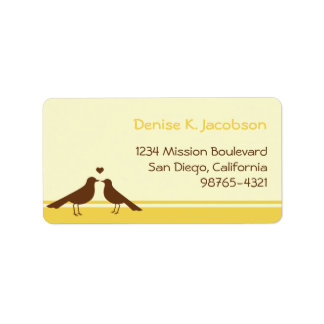 Love birds brown yellow stripe custom mailing