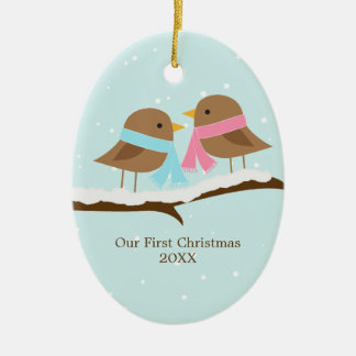 Love Birds Ceramic Oval Ornament