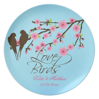 Love Birds Cherry Blossoms Personalized Plate