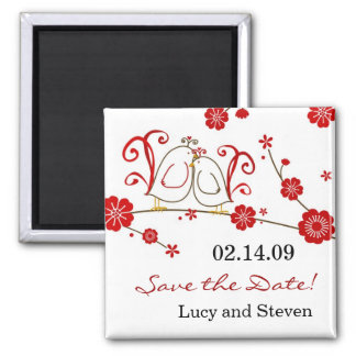 Love Birds & Cherry Blossoms Save the Date Magnet
