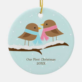 Love Birds Christmas Ceramic Ornament