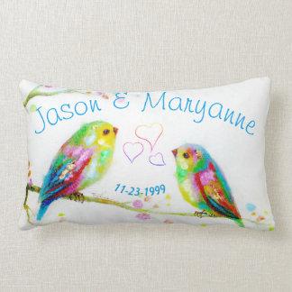 Love Birds Colorful Couple Name Wedding Pillow